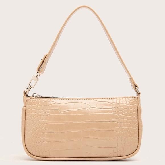 NEW Tan Faux Leather Croc Baguette Bag